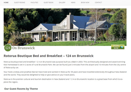 Rotorua Bed and Breakfast - 124 on Brunswick. Beautiful surroundings, beautiful bed and breakfast and now a beautiful website to go with it.