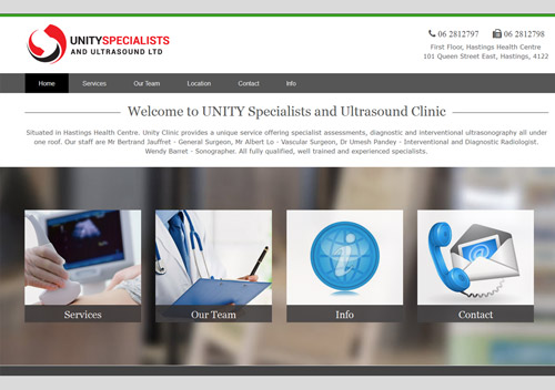 Portfolio Web Site link to Unity Specialists and Ultrasound Clinic, Hastings, Hawkes Bay