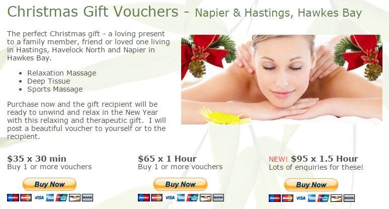 Hawkes Bay Massage Xmas Gift Voucher